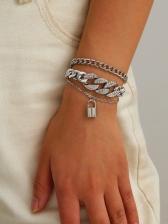 Exaggerated Rhinestone Lock Pendant Layered Bracelet