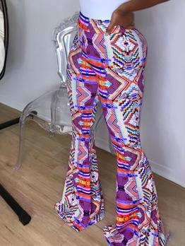 Fashion Multicolored Print Women Flare Pants