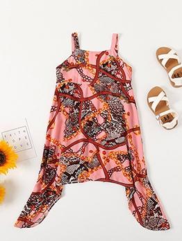 Summer Printed Irregular Girls Casual Camisole Dress