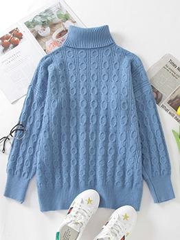 Autumn Warm Solid Color Turtleneck Sweater