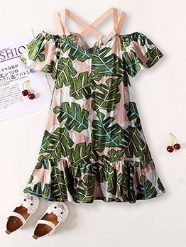 Summer Leaf Print Ruffled Edge Girls Vacation Dress