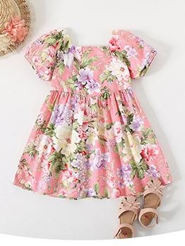 Sweet Floral Short Sleeve Girls Casual Dress