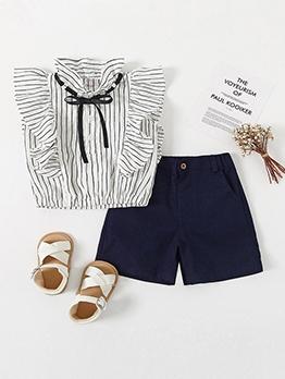 Summer Ruffled Edge Sleeveless Stripe Girl Clothing Set