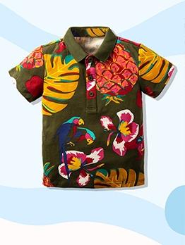 Casual Leaf Print Turndown Collar Boys Polo Shirts