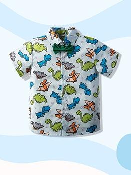 Cute Dinosaur Print Lapel Short Sleeve Boys Top
