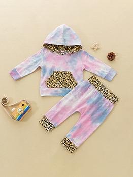 Autumn Tie Dye Leopard Hooded Girl Clothing Set