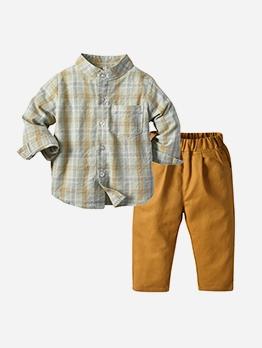 Fashion Plaid Long Sleeve T-Shirt Boy Clothing Set