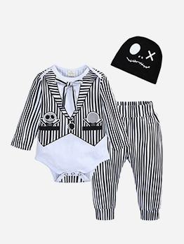 Autumn Stripe Pants Halloween Baby Three Piece Set