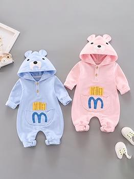 Cute Printed Hooded Zipper Baby Sleepsuits