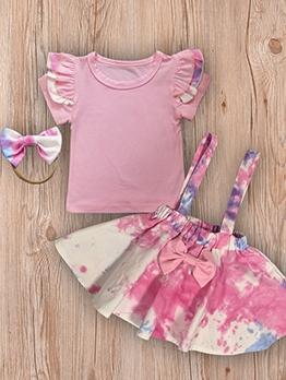 Tie Dye Bow Suspender Skirt Three Piece Set