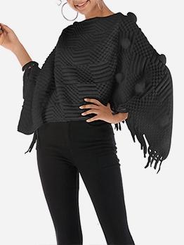 Autumn Solid V Neck Women Tassel Loose Pullover