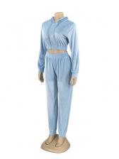 Hooded Collar Blue Velvet Two Piece Women Sets