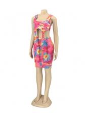 Sexy Tie Dye Crop Top And High Waist Short Skirt Set