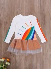 Fashion Rainbow Printed Long Sleeve Girls Dress