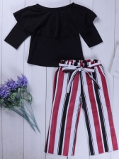 Solid Off Shoulder Top And Tie-Wrap Stripe Pants