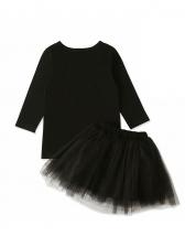 Autumn Letter Long Sleeve Top And Gauze Skirt