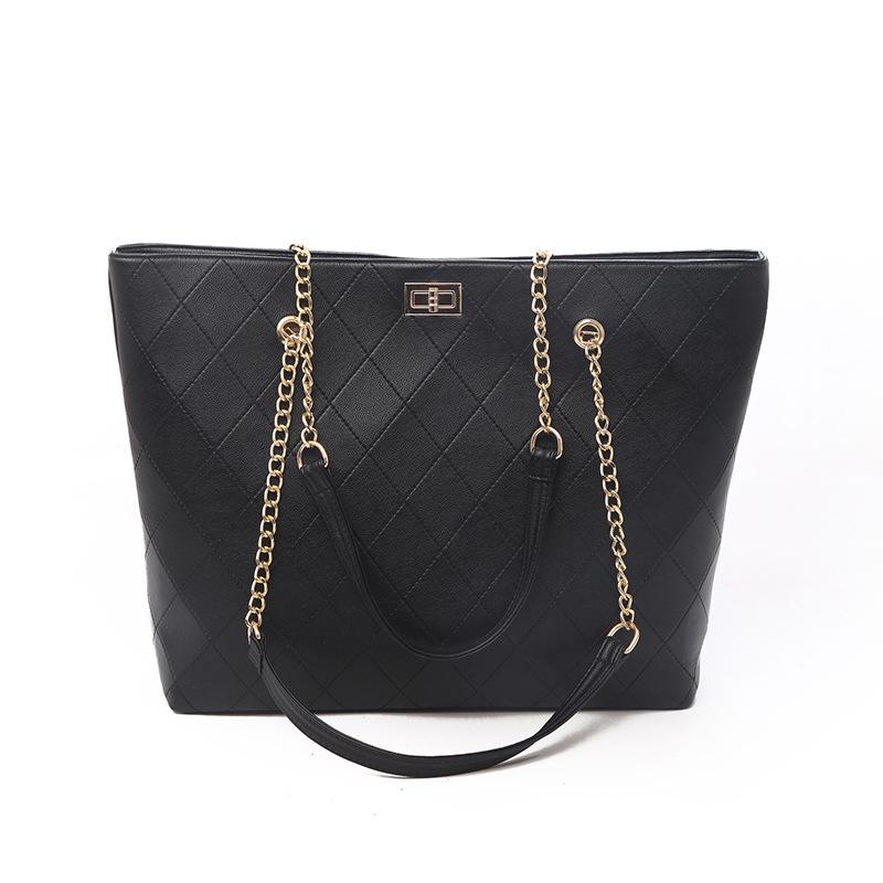 Lattice Pattern Plain Black Work Tote Bags
