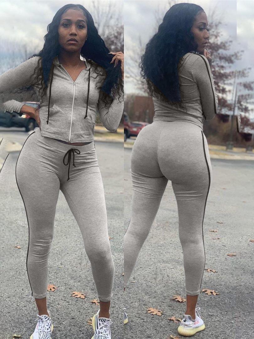 Casual Long Sleeve Zipper Hooded Ladies Tracksuits