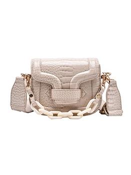 Acrylic Chain Wide Belt Alligator Print Shoulder Bag