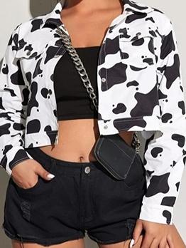 Newly Cow Print Long Sleeve Autumn Short Coat