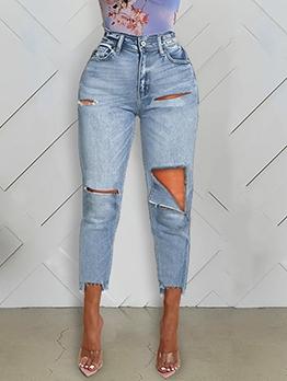 Trendy Holes Design Jeans For Women
