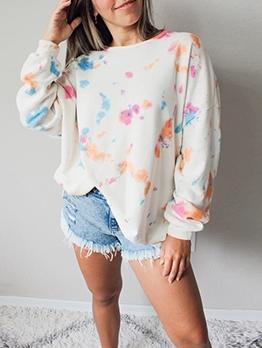 Loose Print Long Sleeve Sweatshirt For Women