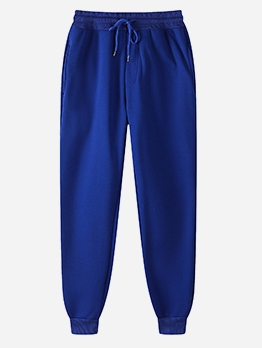Casual Pure Color Drawstring Mens Sweatpants