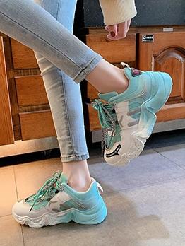 Contrast Color Platform Heightened Mesh Sneaker