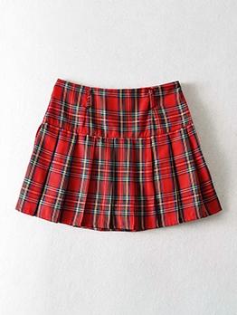 Japanese Plaid Vintage Pleated Short Skirt
