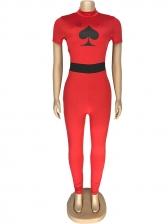 Spade Q Print Short Sleeve Bodycon Jumpsuit