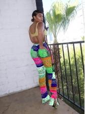 Color Block Printed Split Hem Pants For Women