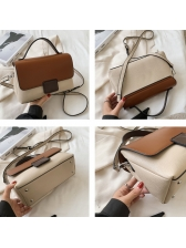 Contrast Color Removable Belt Crossbody Bag With Handle