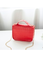 Candy Color Alligator Print Chain Crossbody Bags