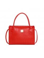 Simple Style Alligator Print Shoulder Bag With Handle
