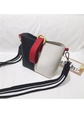 Color Patchwork Wide Belt Shoulder Bag With Handle
