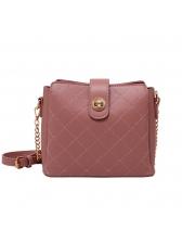 Simple Style Threaded Twist Lock Chain Shoulder Bag