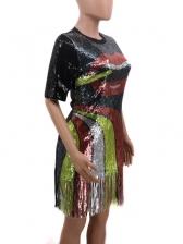 Color Block Tassels Casual Sequin Dress