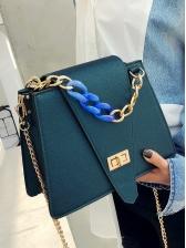 Twist Lock Thick Chain Square Design Shoulder Bag