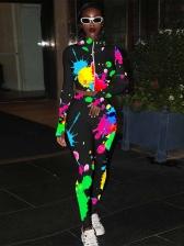 Multicolored Printed Long Sleeve Ladies Tracksuits