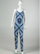 National Style Printed Spaghetti Strap Skinny Jumpsuit