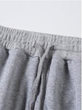 Casual Pure Color Drawstring Mens Sweatpants