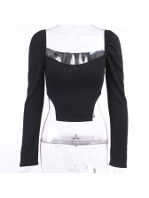 Solid Long Sleeve Square Neck Top For Women