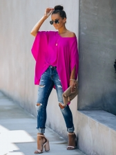 Casual Solid V Neck Bat Sleeve Women Top