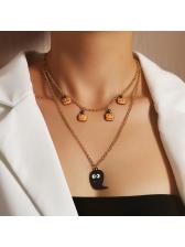 Halloween Funny Pumpkin Pendant Layered Necklace