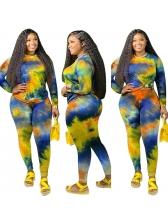 Tie Dye Print Fitted Women Trouser Set