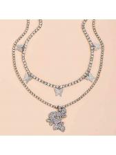 Rhinestone Butterfly Pendant Layered Necklace