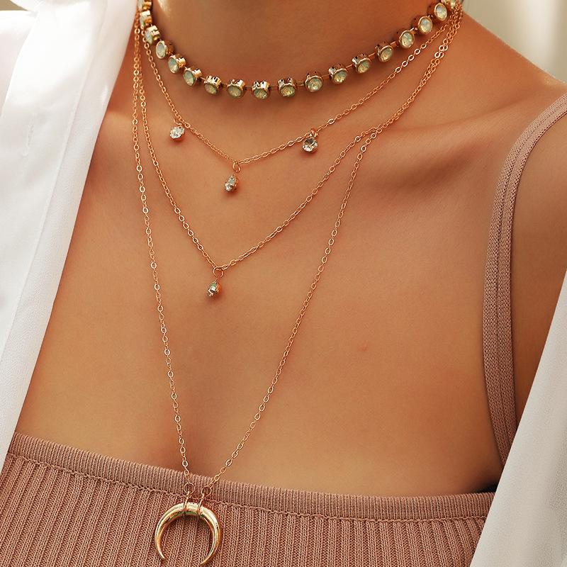 Multi Layer Rhinestone Crescent Pendant Necklace