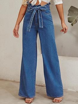 Fashion Solid High Waist Tie-Wrap Wide Leg Jeans