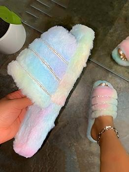 Fluffy Slippers Women Flat Winter Slippers