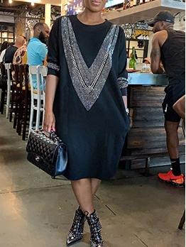 Rhinestone Decor Crew Neck Long Sleeve Casual Dresses